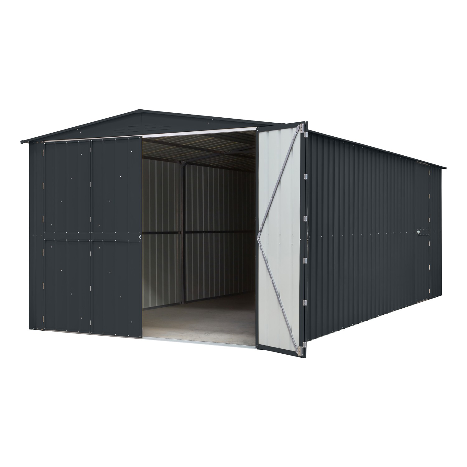 Lotus 10x15 Metal Double Hinged Metal Garage