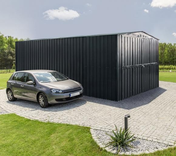 Lotus 10x15 Metal Double Hinged Metal Garage -Anthracite Grey